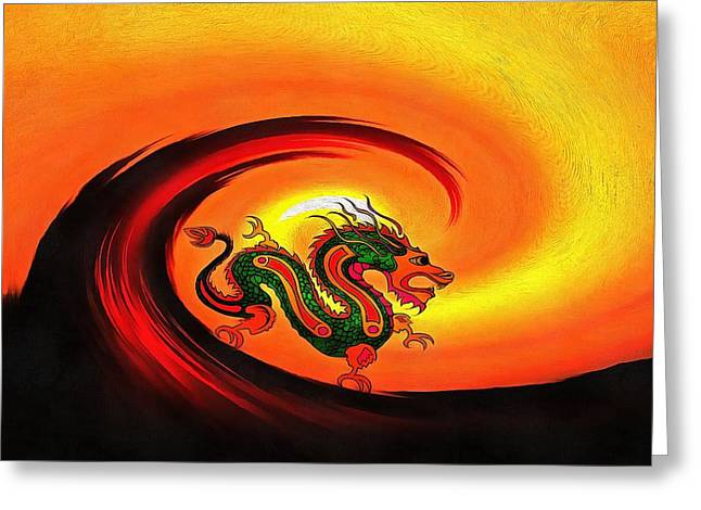 Yang Greeting Cards - The Last Dragon Greeting Card by Dan Sproul
