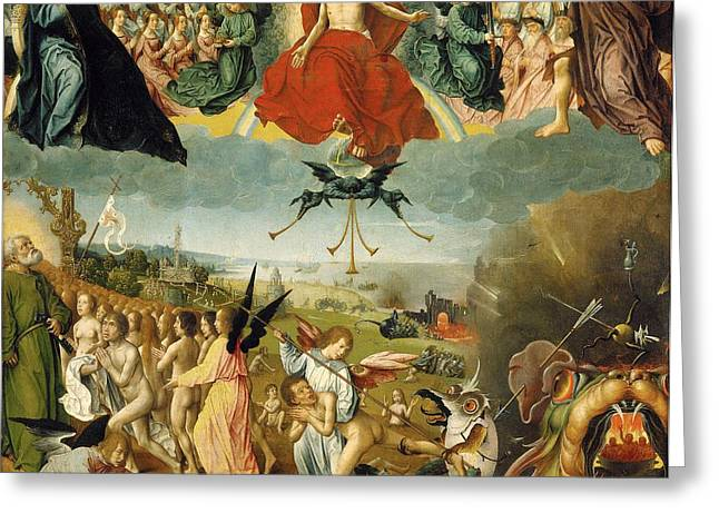 Damnation Greeting Cards - The Last Judgement Greeting Card by Jan II Provost
