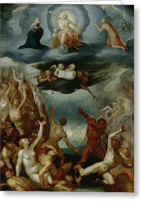 Damnation Greeting Cards - The Last Judgement  Greeting Card by Martin Pepyn