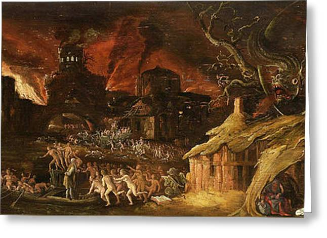 Bible Paintings Greeting Cards - The Last Judgment and the Seven Deadly Sins Greeting Card by Jacob van Swanenburgh
