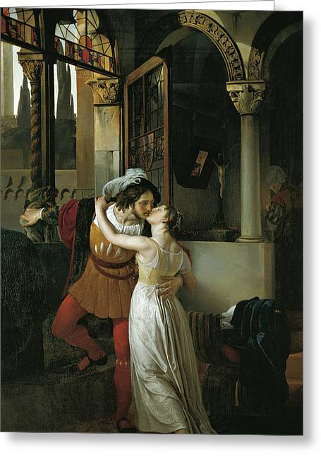 The Last Kiss Of Romeo And Juliet Greeting Card by Francesco Hayez