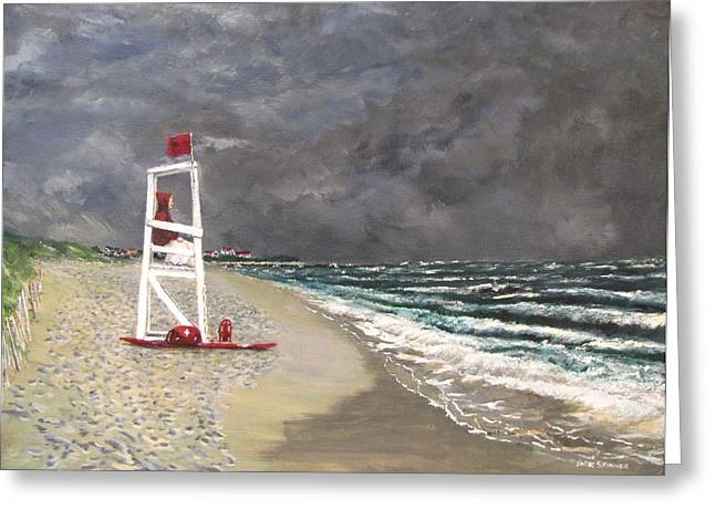 Jack Skinner Paintings Greeting Cards - The Last Lifeguard Greeting Card by Jack Skinner