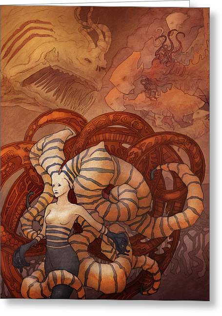 Tentacles Drawings Greeting Cards - The Last Migration Greeting Card by Ethan Harris
