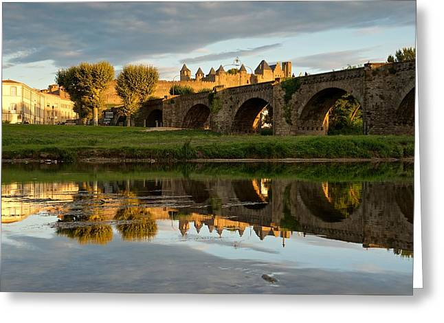 Languedoc Digital Greeting Cards - The last of the light in Carcassonne Greeting Card by Stephen Taylor