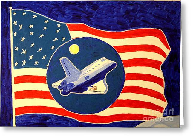 Atlantis Drawings Greeting Cards - The Last Space Shuttle Greeting Card by Bill Hubbard