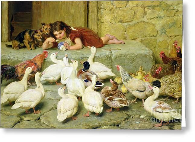Girls Greeting Cards - The Last Spoonful Greeting Card by Briton Riviere