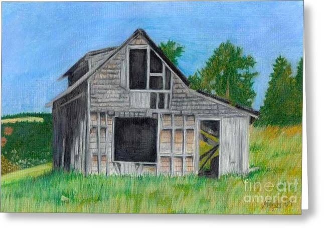 Dilapidated Pastels Greeting Cards - The Last Stage Stop Greeting Card by Mendy Pedersen