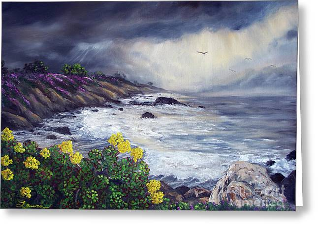Pacific Grove Greeting Cards - The Last Storm Greeting Card by Laura Iverson