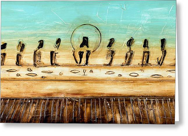 Last Supper Mixed Media Greeting Cards - The Last Supper Greeting Card by Ivan  Guaderrama