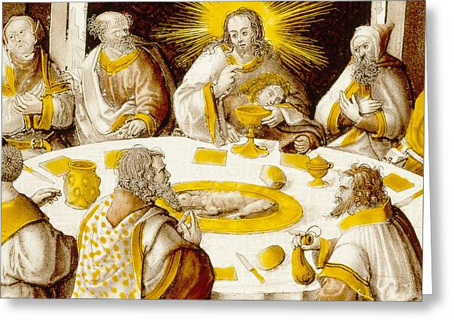 The Last Supper Greeting Card by Jacob Cornelisz van Oostsanen