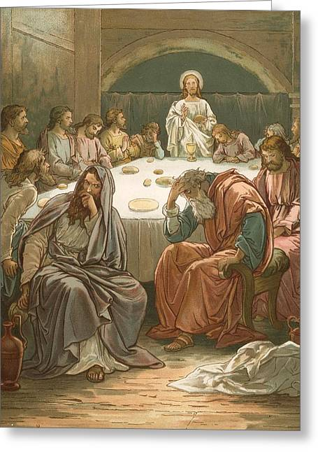 Judas Greeting Cards - The Last Supper Greeting Card by John Lawson