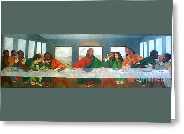 Religious Paintings Greeting Cards - The Last Supper Greeting Card by Lauren Livingston