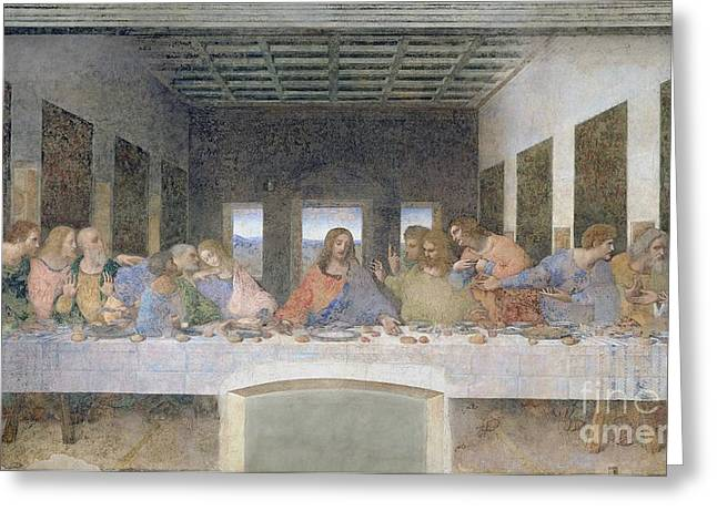 Fresco Greeting Cards - The Last Supper Greeting Card by Leonardo da Vinci