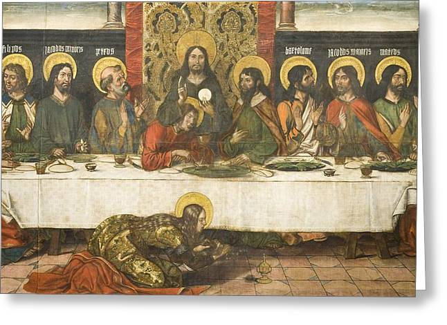 Last Supper Greeting Cards - The Last Supper Greeting Card by Pedro Berruguete