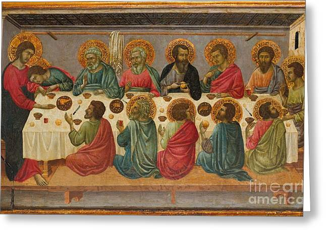 Last Supper Greeting Cards - The Last Supper Greeting Card by Ugolino da Siena