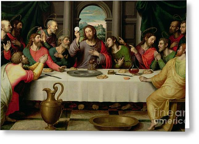 Biblical Greeting Card featuring the painting The Last Supper by Vicente Juan Macip