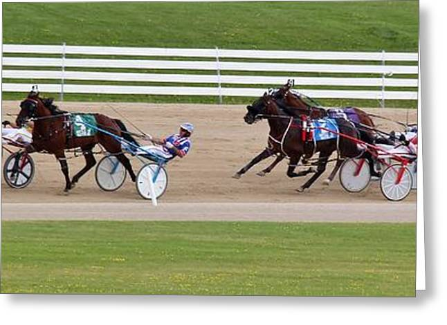 Race Horse Greeting Cards - The Last Turn Greeting Card by Barry W Ulrich