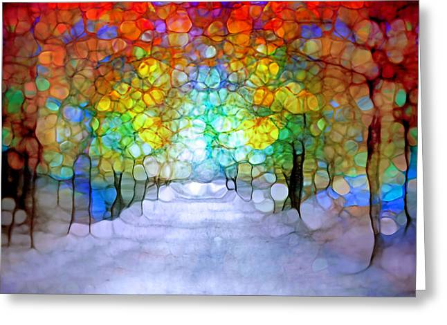 Tree Lines Digital Greeting Cards - The Laughing Forest Greeting Card by Tara Turner