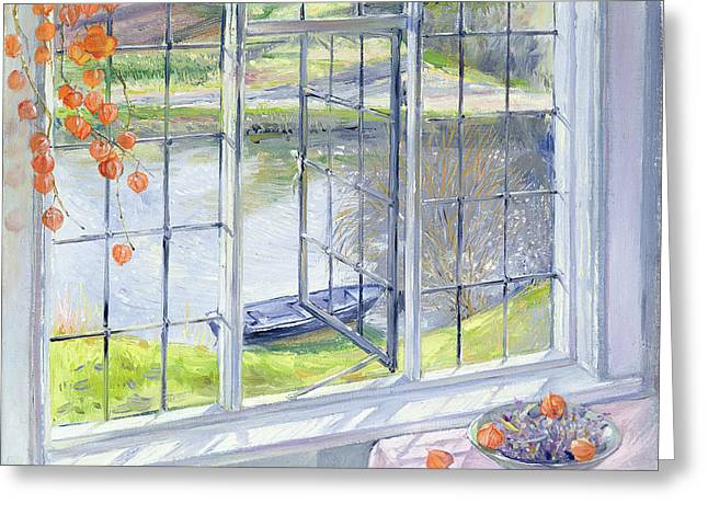 Chinese Lanterns Greeting Cards - The Lavender Bowl Greeting Card by Timothy Easton