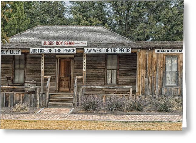 The Bean Greeting Cards - The Law West of the Pecos Greeting Card by Mountain Dreams