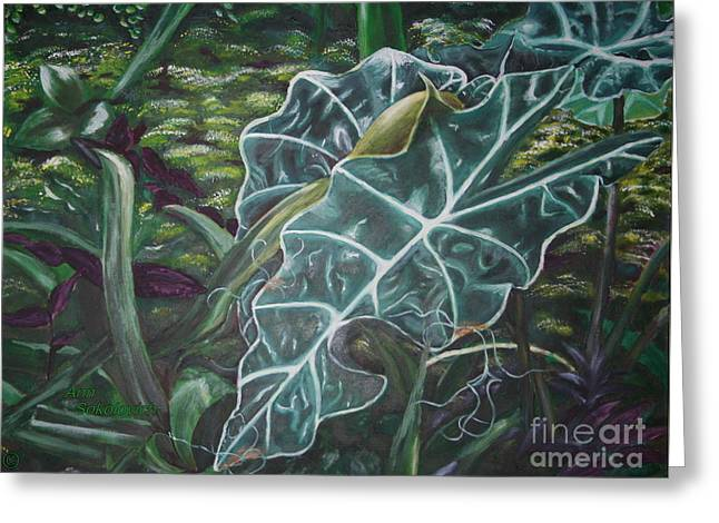 Sokolovich Paintings Greeting Cards - THe Leaf Greeting Card by Ann Sokolovich