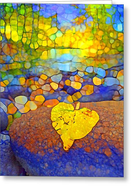 Fallen Leaf Greeting Cards - The Leaf at the Creek Greeting Card by Tara Turner