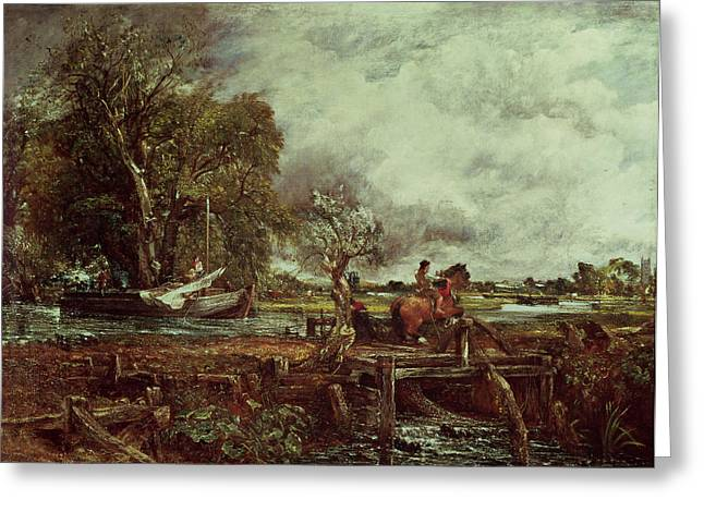 Constable Greeting Cards - The Leaping Horse Greeting Card by John Constable