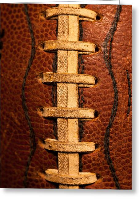 Football Closeup Greeting Cards - The Leather Football Greeting Card by David Patterson
