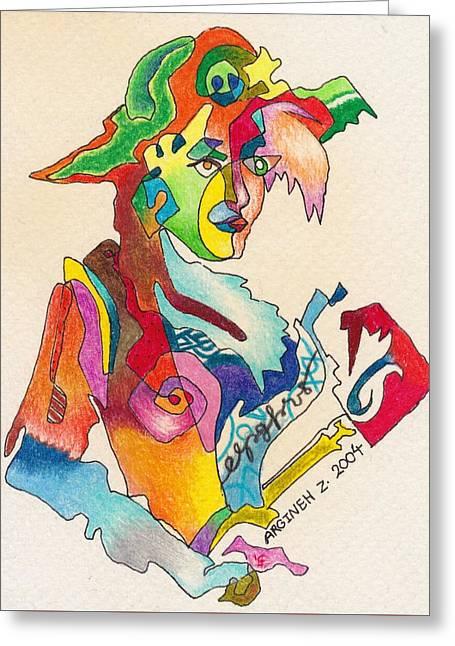 Earings Drawings Greeting Cards - The Left-Handed Artist  Greeting Card by Argineh Zadoorian