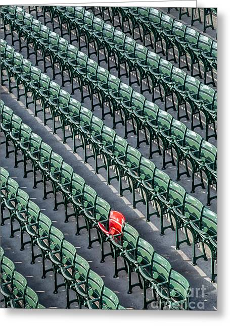 Boston Red Sox Greeting Cards - The Legendary Red Seat at Fenway Park Greeting Card by Dawna  Moore Photography