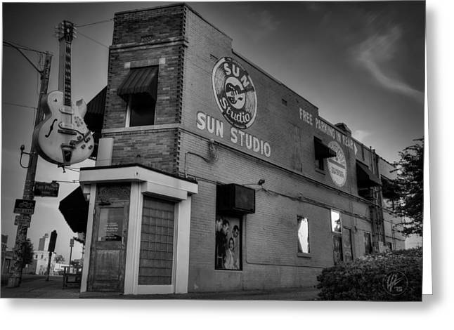 Iconic Guitars Greeting Cards - The Legendary Sun Studio 001 BW Greeting Card by Lance Vaughn