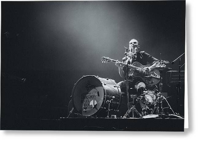 I Live Greeting Cards - The Legendary Tigerman Playing Live Greeting Card by Marco Oliveira