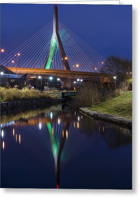 The Leonard P Zakim Bridge Lit Up In Green For St Patrick's Day Greeting Card by Toby McGuire