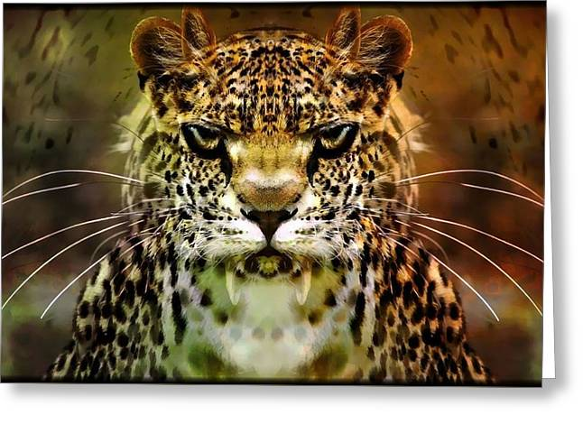 Mystic Art Greeting Cards - The Leopard Of The Temple  Greeting Card by Daniel  Arrhakis