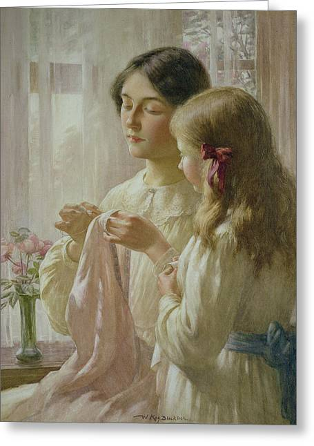 Caring Mother Paintings Greeting Cards - The Lesson Greeting Card by William Kay Blacklock