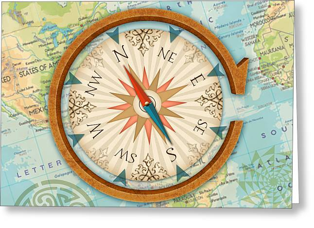 The Letter C For Compass Greeting Card by Valerie Drake Lesiak