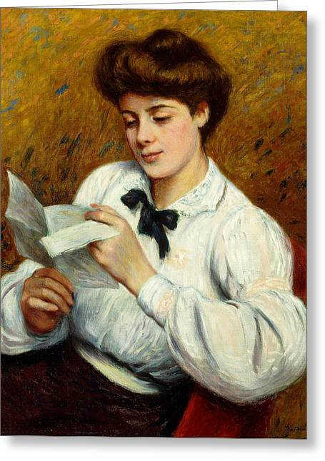 Love Letter Paintings Greeting Cards - The Letter Greeting Card by Federigo Zandomeneghi
