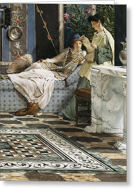 Love Letter Paintings Greeting Cards - The Letter from an Absent One Greeting Card by Sir Lawrence Alma-Tadema
