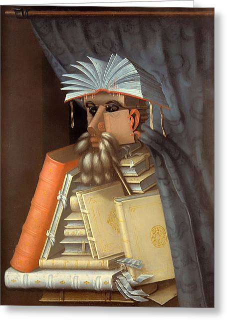 Stacks Of Books Greeting Cards - The Librian Greeting Card by Guiseppe Arcimboldo