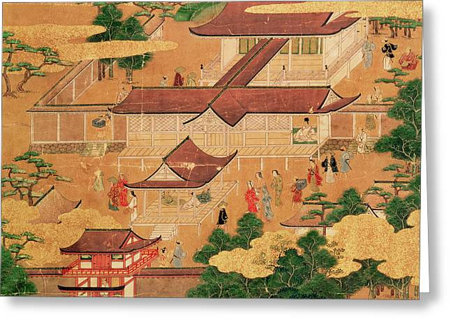 The Life and Pastimes of the Japanese Court - Tosa School - Edo Period Greeting Card by Japanese School