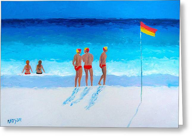 Beach Scene Greeting Cards - The Life Guards Greeting Card by Jan Matson