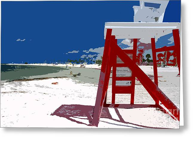Surf Art Digital Art Greeting Cards - The lifeguard stand Greeting Card by David Lee Thompson
