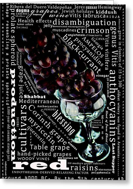 Grape Leaves Mixed Media Greeting Cards - The lifeline of the red grapes Greeting Card by Toppart Sweden