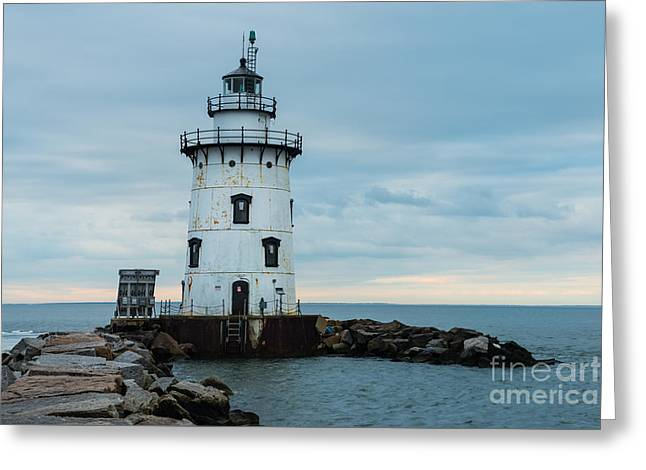 New England Ocean Greeting Cards - The Light at Saybrook Breakwater - Connecticut Lighthouse Greeting Card by JG Coleman