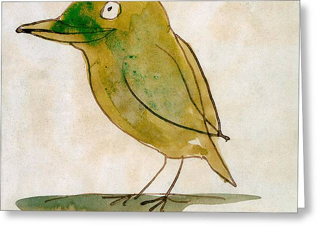 The Light Green Bird Greeting Card by Edward Lear