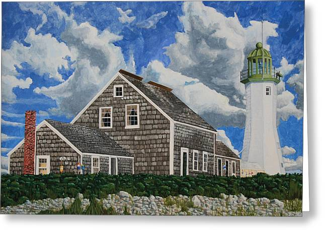 New England Lighthouse Paintings Greeting Cards - The Light Keepers House Greeting Card by Dominic White