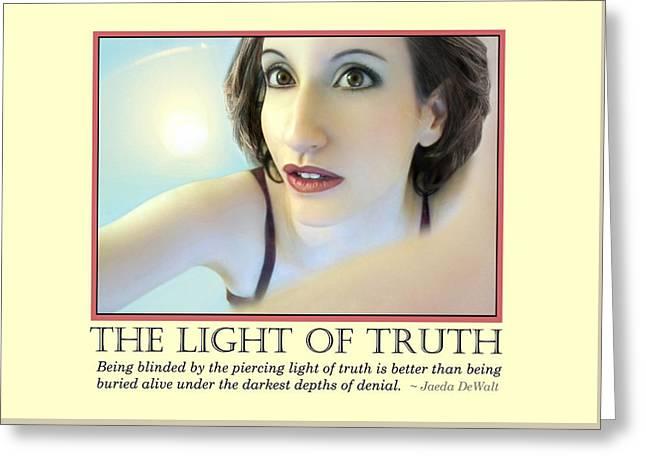 Spiritual Portrait Of Woman Greeting Cards - The Light of Truth Greeting Card by Jaeda DeWalt