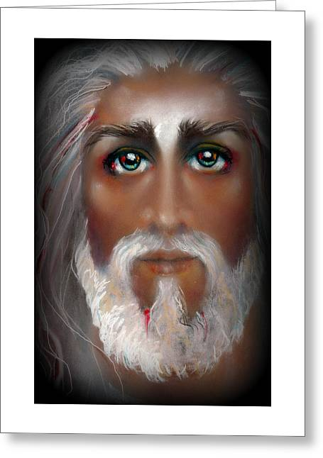Christ Pastels Greeting Cards - THE LIGHT Pastel Eikons of Christ Greeting Card by Vicki Thomas