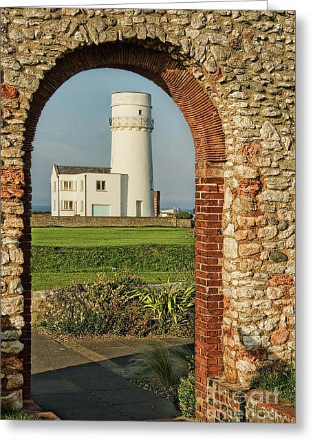 The Lighthouse And The Chapel Greeting Card by John Edwards