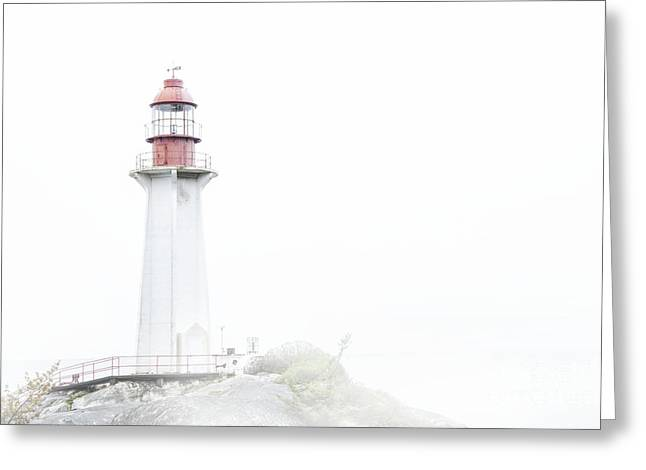 Burrard Inlet Greeting Cards - The Lighthouse And The Fog Greeting Card by Theresa Tahara